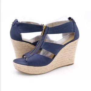 Michael Kors Womens Blue Espadrille Wedge Sandals
